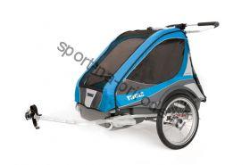 Коляска Thule Chariot Captain2/Капитан2, в комплекте с велосцепкой, голубой