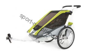 Коляска Thule Chariot Cougar2/Кугар2, в комплекте с велосцепкой, авокадо, 14-
