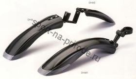 """Комплект переднее & заднее на хомуте крылья с прорезиненными краями SW-DH9 для велосипедов 24""""-26"""". Цвет чёрный"""