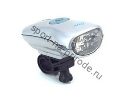 Передний фонарь WH-01NX Xenon лампа, индикатор зарядки, с крепежем, цв.серебряный